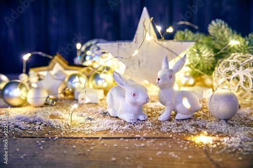 Fototapeta Christmas decoration for firtree glass balls garland and star obraz