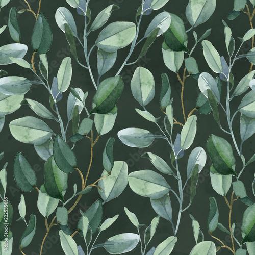 bezszwowy-wzor-zielony-eukaliptus-opuszcza-na-ciemnozielonym-tle