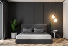 Gray Bedroom Interior, Double Bed