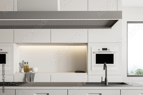 White kitchen interior with island close up Fotobehang