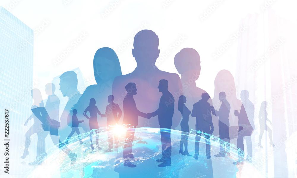 Fototapeta Business team silhouettes, trade in global world