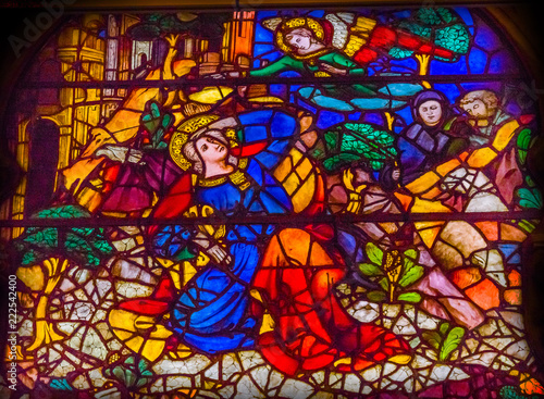 Photo Annunciation Mary Angel Stained Glass Window Orsanmichele Church Florence Italy