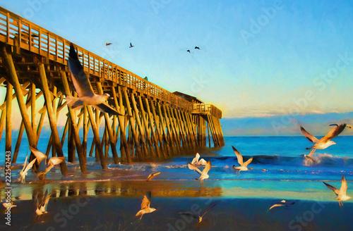 Fototapeta Sunset at Myrtle Beach State Park Pier Digital Art obraz
