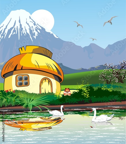 Country landscape-hut on the lake with swans.