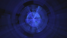 Abstract Creative Blue Fractal Technological Background With Crossed Circles.