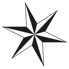 Black And White 6 Point Star S...