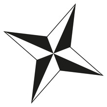 Black And White 4 Point Star S...