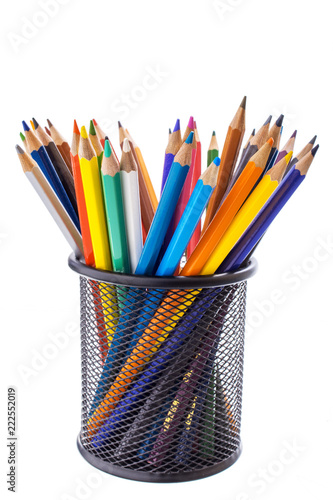 Obraz na plátně  colored pencils in metal stand isolated on white background