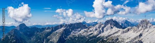 Fototapeta  Panoramic view of the Julian Alps from the top of the Prisojnik mountain