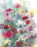 Wildflowers lata kolorowych kwiatów akwareli obrazu ilustracja odizolowywająca na białym tle - 222555631