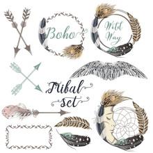 Collection Of Vector Boho Logo...