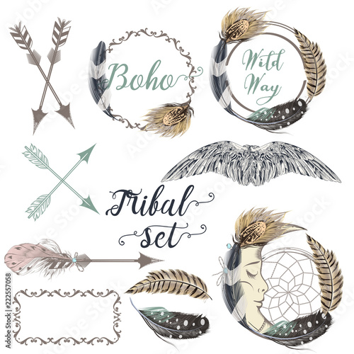 Photo Collection of vector boho logotype design