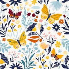 Seamless Pattern With Floral Design And Hand Drawn Elements