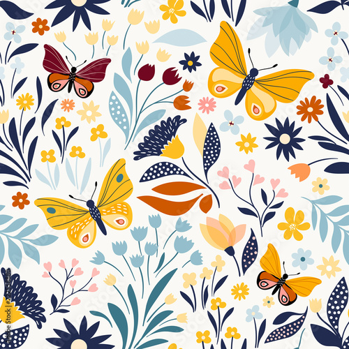 Spoed Foto op Canvas Kunstmatig Seamless pattern with floral design and hand drawn elements