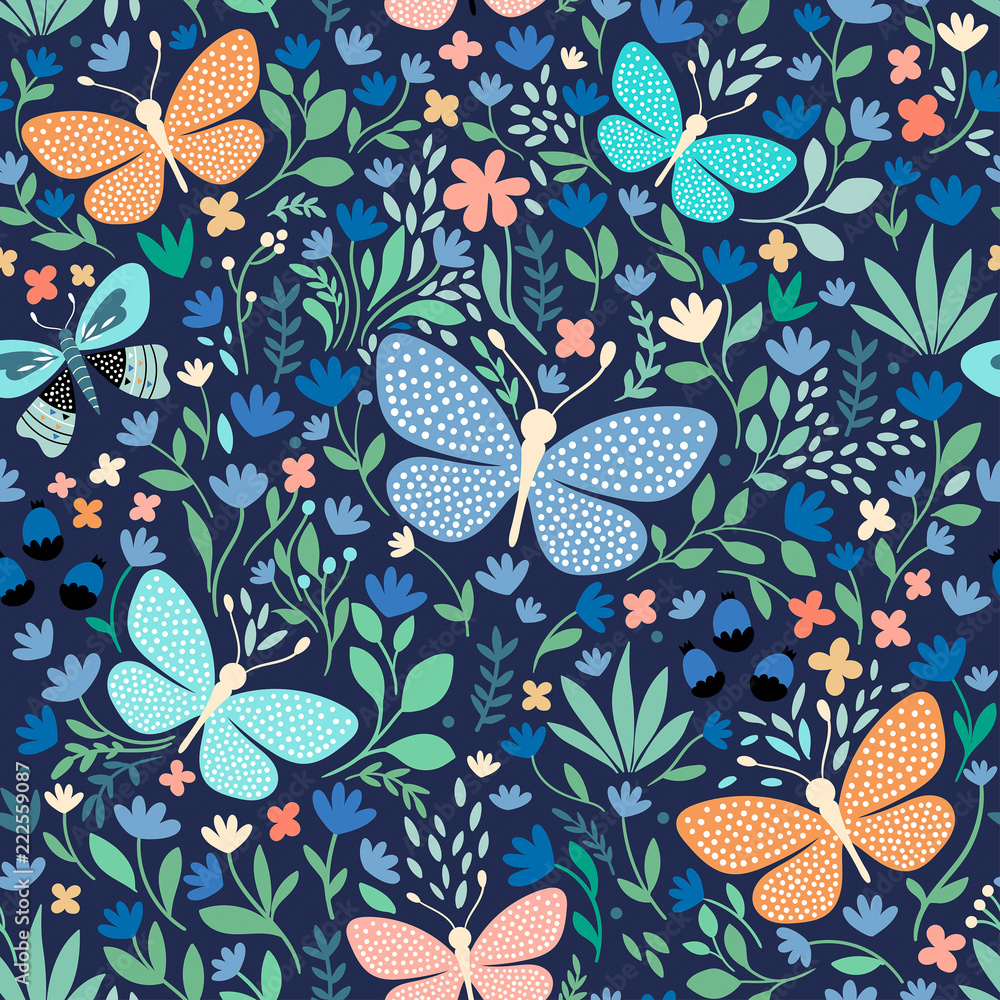 Fototapeta Floral seamless pattern with butterflies, hand drawn vector design