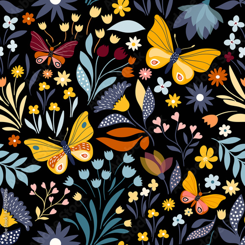 Foto op Canvas Kunstmatig Seamless pattern with floral design and hand drawn elements