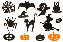 Happy Halloween Set Cut Out Of Black Orange Paper Silhouettes Pumpkin, Witch, Ghost, Cat, Owl, Spider, Web, Hat, Bat, Castle Isolated On White Background. Concept Paper Cut Style. Top View