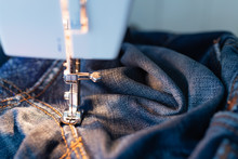 Repair Jeans On The Sewing Mac...