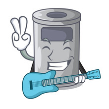 With Guitar Cartoon Steel Trash Can In The Room
