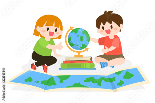 Children Studying, Learning Geography with Globe and Map Illustration