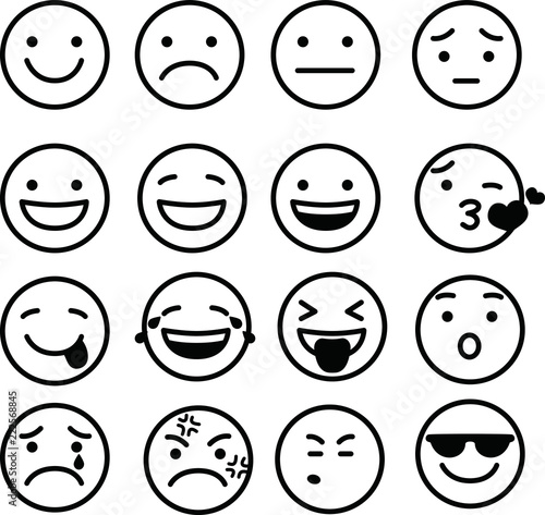 Fotografering  Line drawing of emoticon icon set
