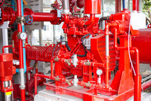 Diesel Engine Fire Pump, Electric Motor Fire Pump With Control System Red Piping And Valve.