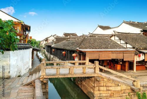 Tuinposter Historisch geb. Jiangsu Zhouzhuang Landscape