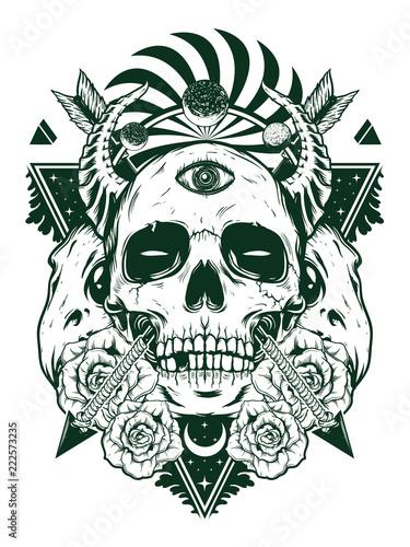 devil skull for shirt design in black white concept Tableau sur Toile