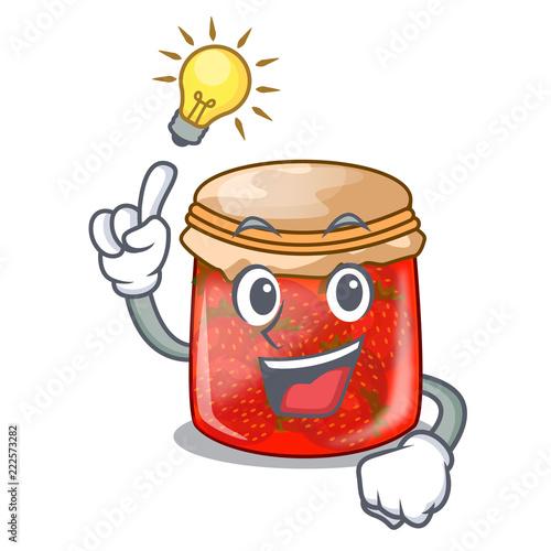 Fotografija  Have an idea strawberry jam glass isolated on cartoon