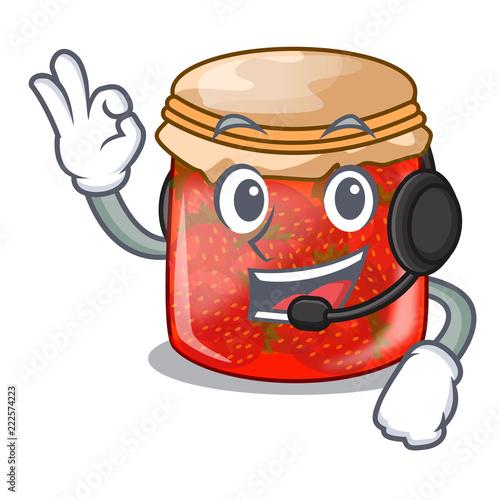 With headphone strawberry jam glass isolated on cartoon Slika na platnu
