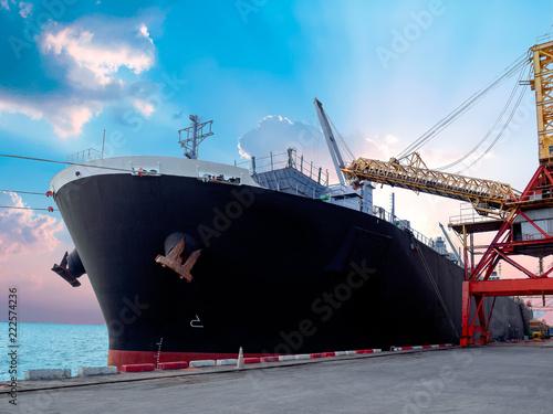 Vászonkép Vessel alongside at thailand port and loading bulk cargo.