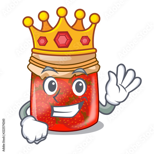 King strawberry jam glass isolated on cartoon Slika na platnu