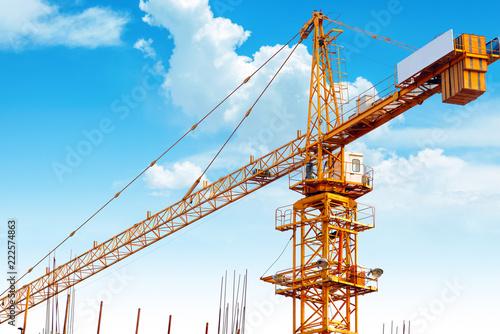 Poster Stad gebouw Construction site crane close-up