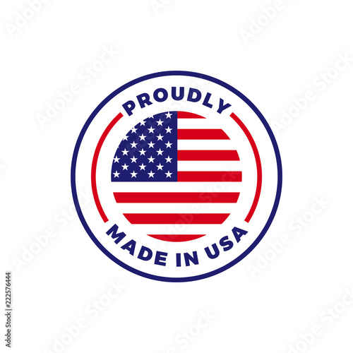 Made in USA American flag round vector icon Poster Mural XXL