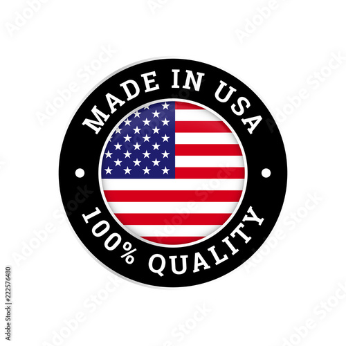 Photographie  Made in USA 100 percent American quality flag icon