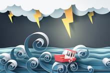 Paper Art Of Boat Against Craz...