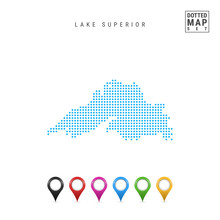 Dots Pattern Vector Map Of Lake Superior. Stylized Simple Silhouette Of Lake Superior. Set Of Multicolored Map Markers. Illustration Isolated On White Background.