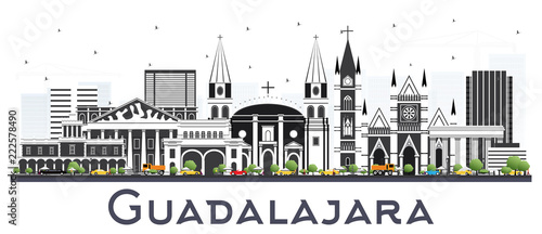 Guadalajara Mexico Skyline with Gray Buildings Isolated on White.