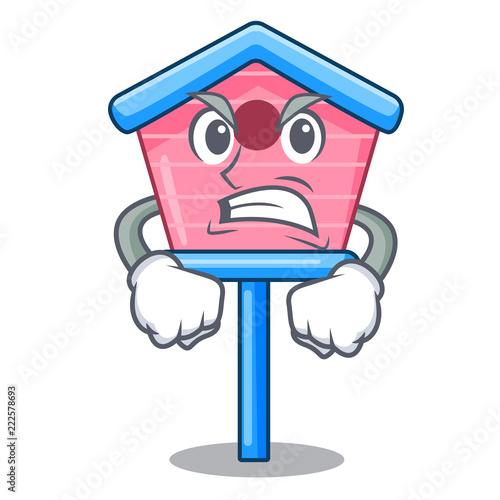 Fotografie, Tablou  Angry wooden bird house on a pole cartoon