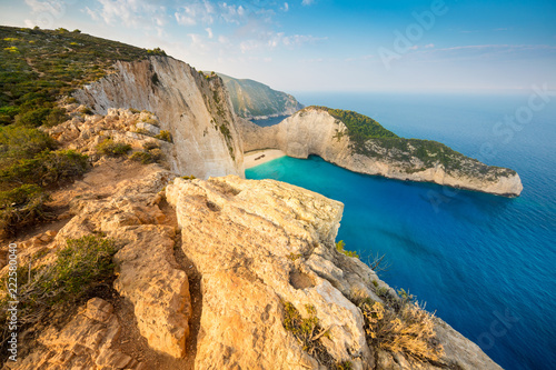 Navagio Beach (Shipwreck beach) at sunset on Zakynthos Island, Greece Wallpaper Mural