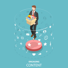 Isometric Flat Vector Concept Of Engaging Content Marketing, Customer Engagement Strategy, Blogging And Vlogging, Social Media Sharing.