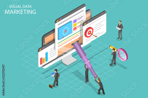 Fotografía  Isometric flat vector concept of visual data marketing, data driven campaign, analyzing statistics