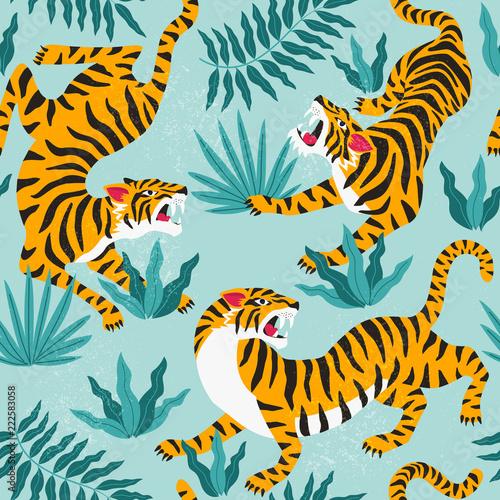 Fototapeta premium Wektor wzór z słodkie tygrysy na tle. Pokaz zwierząt cyrkowych. Modny wzór tkaniny.