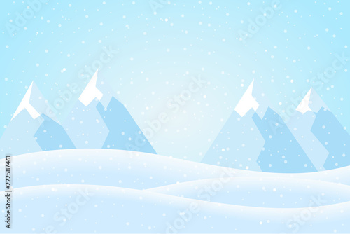Flat design illustration of a winter mountain landscape with hills, blue sky and snow, suitable as Christmas or New Year greeting card