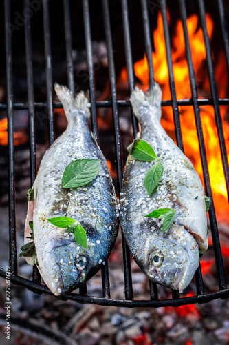 Delicious fish on grill with herbs and salt