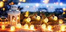 Christmas Candle Lantern, Christmas And New Year Background, Banner.