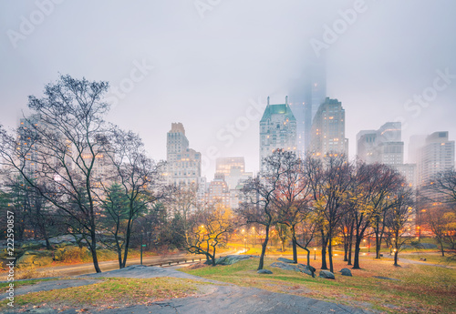 Deurstickers New York City Central park at rainy morning, New York City, USA