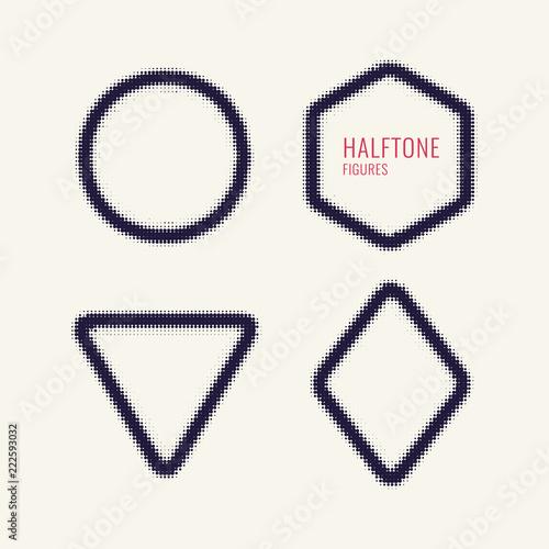 Fotografie, Obraz  Monochrome printing raster, abstract vector halftone shapes.