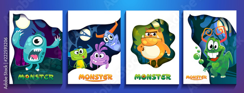 Fotografiet Set of cute colorful monster cards