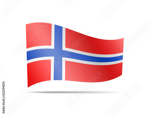 Photo  Waving Norway flag in the wind.